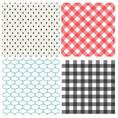 Set of classic seamless pattern, vector texture Illustration