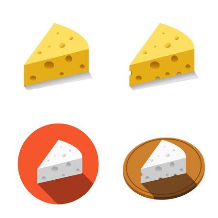 White and Yellow cheese in flat style, vector