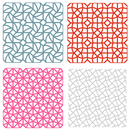 strip structure: geometric mesh seamless pattern in korean style,vector Illustration
