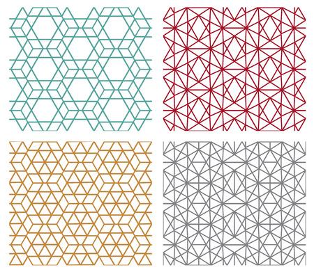 batik: Set of modern geometric seamless line patterns in hexagon concept