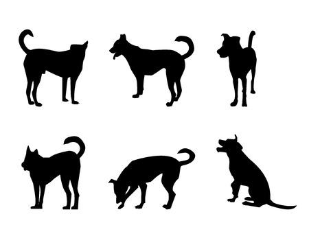 perro labrador: Conjunto de la silueta del perro en blanco, vector Vectores