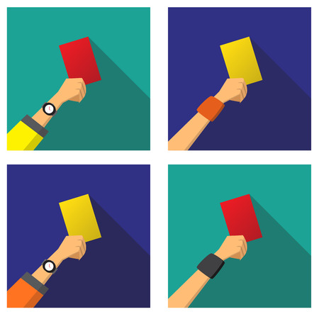 soccer referees hand with red card: Hand with a red and yellow card of football, vector Illustration