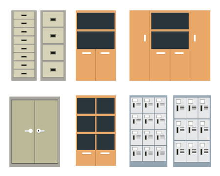 Set of office cabinet and locker in flat style, vector