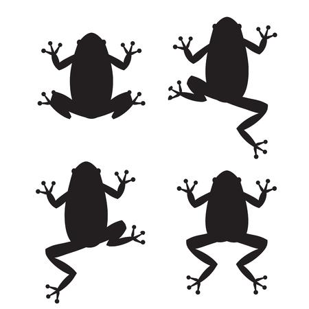 rana venenosa: Conjunto de siluetas de rana en el fondo blanco, vector