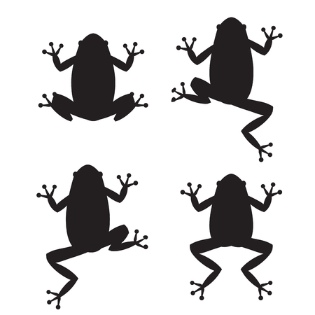 dart frog: Set of frog silhouettes on white background, vector