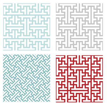 Seamless vintage geometric puzzle pattern, vector Vettoriali