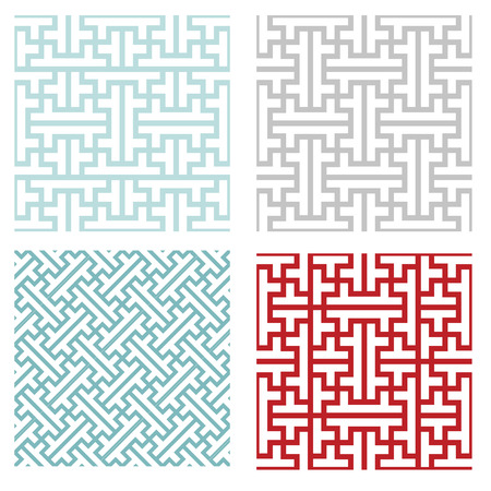 Seamless vintage geometric puzzle pattern, vector Illustration