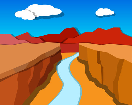 colorado mountains: Grand Canyon in origami style, vector background