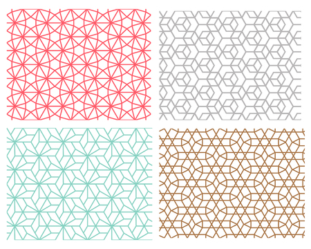 Set of Geometric seamless pattern in mesh style diagonal hexagon and line concept