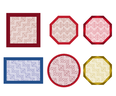 Round, octagon and square table coasters with tracery pattern in asia style. Vettoriali