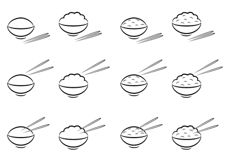 middle eastern food: Rice Bowl symbol with chopsticks in line art style