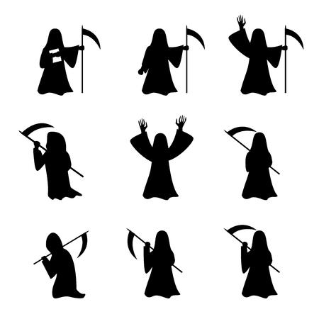 Set of Grim Reaper in silhouette style, vector Stock Illustratie