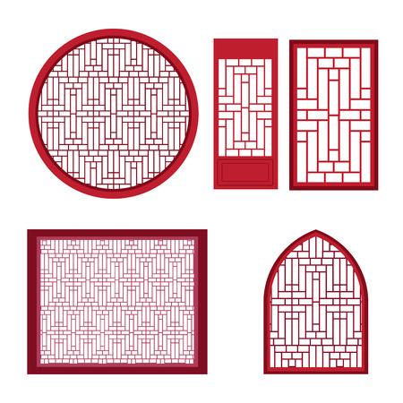 ウィンドウが、モダンとヴィンテージ スタイルでアジア パターンが付いているドア。ベクトル イラスト。