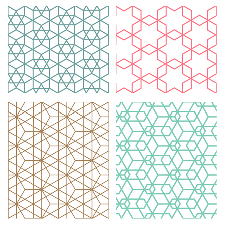 set of mesh geometric seamless pattern in modern korean style