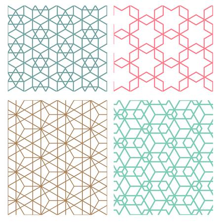 set van mesh geometrische naadloze patroon in moderne Koreaanse stijl Stock Illustratie