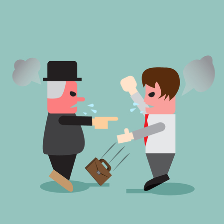 impatient: Young business man quarrel with his angry boss and thrown his bag down Illustration