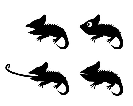 Set of lizard in silhouette style. side view, vector