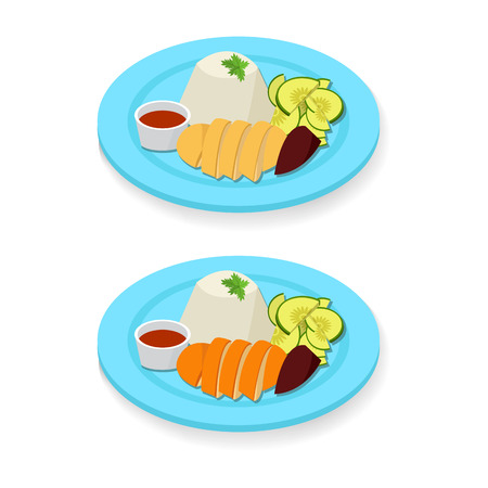 Hainanese chicken rice in flat style, vector