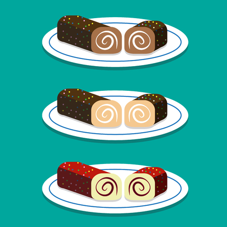 swiss roll: Set of Swiss roll on dish in flat style, vector