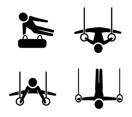 Set of gymnastic icons in silhouette style, vector