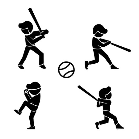baseman: Set of baseball icons in silhouette style, vector icons