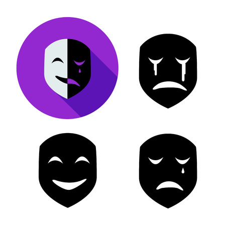 Set of emotion mask in silhouette style, vector object