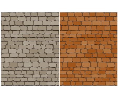 Set of old brick wall seamless pattern, vector