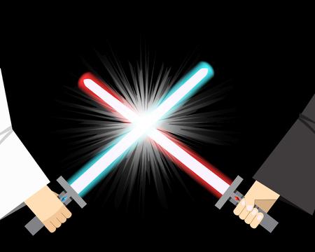 Gevecht van licht zwaard met vonk effect, vector Stock Illustratie