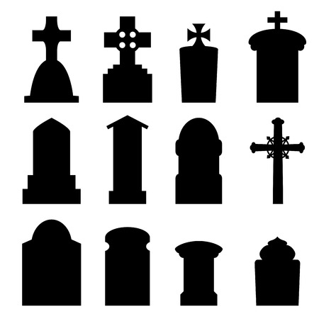 mausoleum: Set of headstone, headstone and tombstone silhouette in europe style. vector illustration.