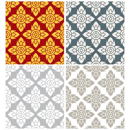 태국 스타일, 벡터 원활한 연꽃 무늬 스톡 콘텐츠 - 55288090