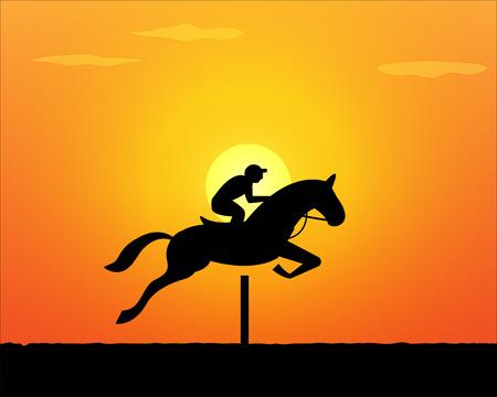 Springen van het paard in zonsondergang tijd. vector achtergrond