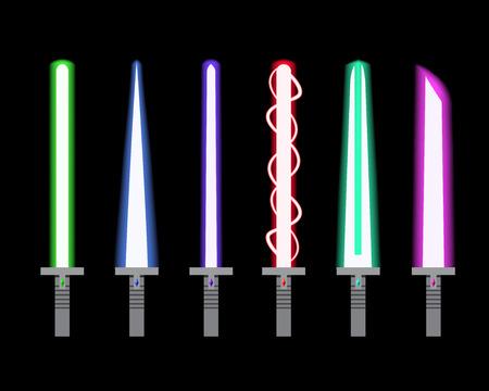 Set of light sword in flat style, vector