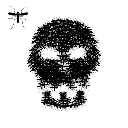 infectious: Skull of mosquito isolated on white, vector object