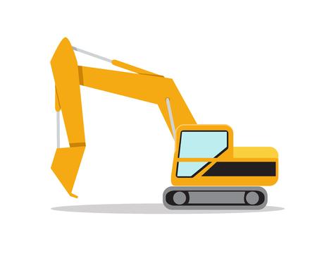 back hoe: Illustration of excavator on white background, vector Illustration