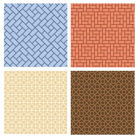韓国風のシームレスな舗装パターンのセット, ベクトル