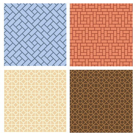 grid paper: Set of seamless pavement pattern in korean style, vector