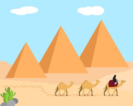 giza: Travel in desert land of Giza, Egypt, vector