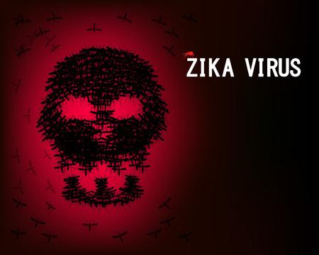 Zika virus wallpaper with skull of mosquito, vector