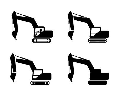 Set of excavator in silhouette symbol style, vector Vettoriali