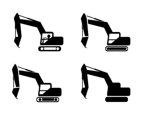 crawler tractor: Set of excavator in silhouette symbol style, vector Illustration
