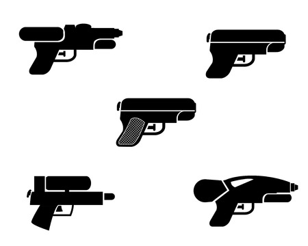 squirt: Set of water gun icons in silhouette style, vector object