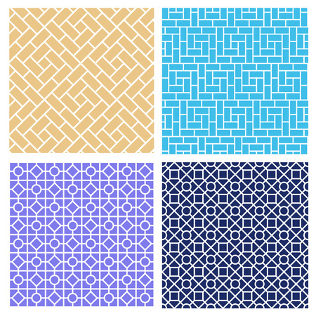 Set of seamless brick pattern in mosaic style, vector