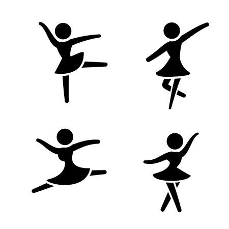 bailarina de ballet: Conjunto de iconos de ballet en el estilo silueta, vector Vectores