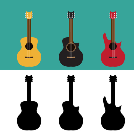 steel bridge: Set of guitar in flat and silhouette style, vector