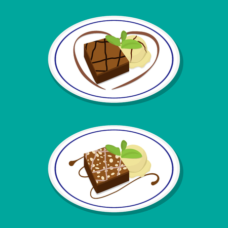 brownie: Fudge Brownie on dish with icecream, vector food