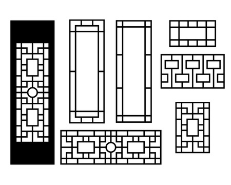 Chinese ornament for door, window, wall and fence, vector Çizim