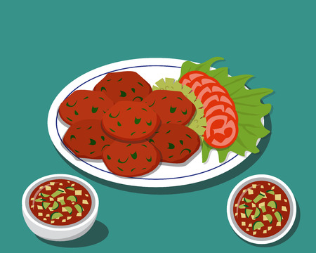 fried fish: Fried fish cake in Traditional Thai food with sauce, vector Illustration
