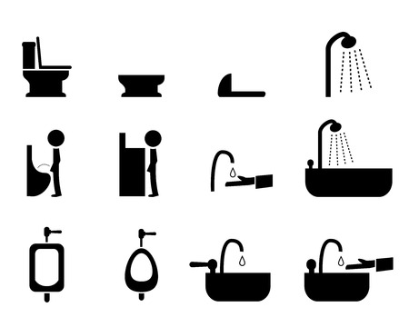 wash hand stand: Set of toilet icons in silhouette style, vector symbol