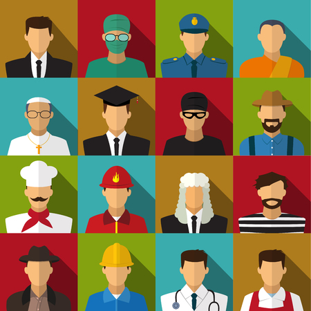 collegian: Set of 16 men job icons in flat with long shadow, vector Illustration
