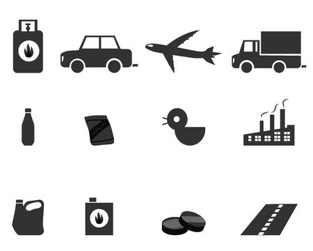 Icons for Oil Refining, Fractional Distillation, vector symbol